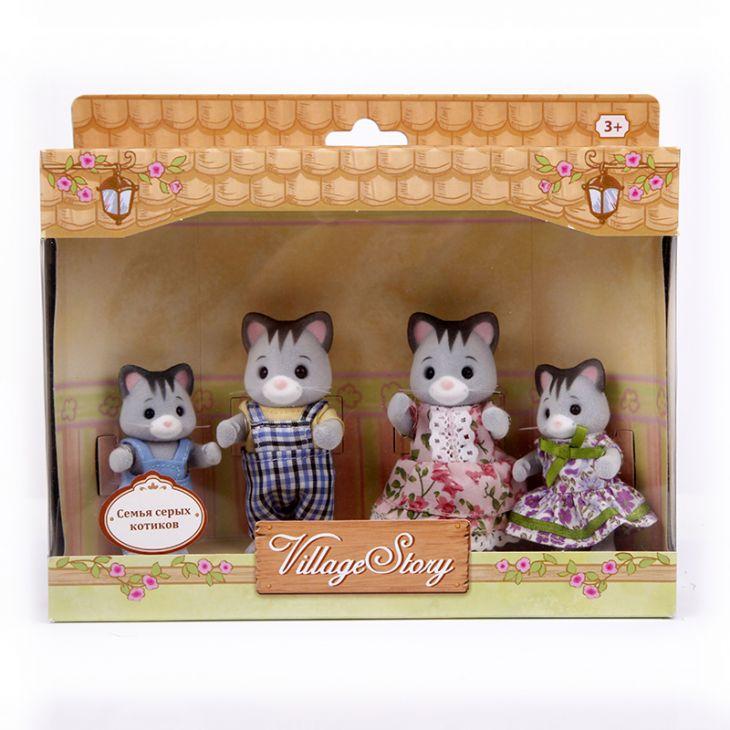 Семья серых котиков (4 шт) Village Story