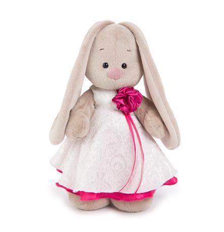 Зайка Ми в белом платье с розой