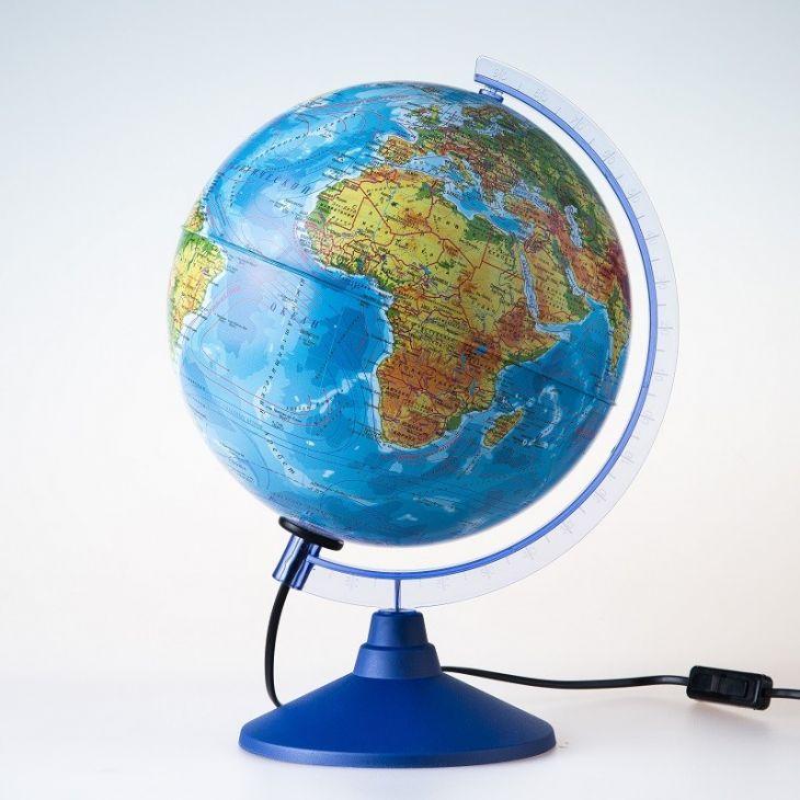 Глобус физико-политический рельефный с подсветкой